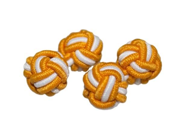 Manschettenknöpfe Seidenknoten orange-weiß