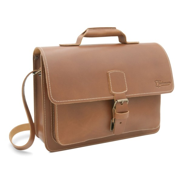 Lehrertasche aus Leder caramel Skopie