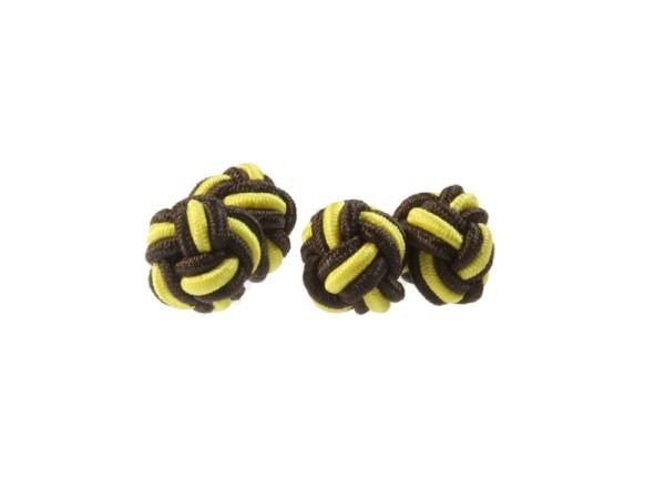 Seidenknoten Manschettenknöpfe braun-gelb