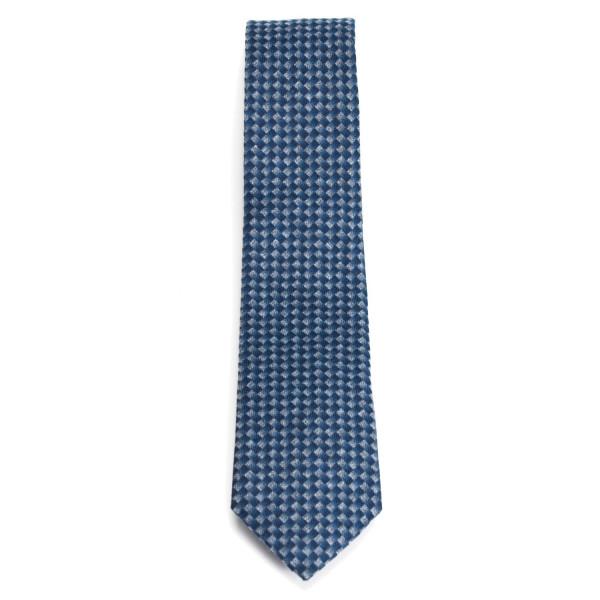 Krawatte aus Baumwolle blau gemustert