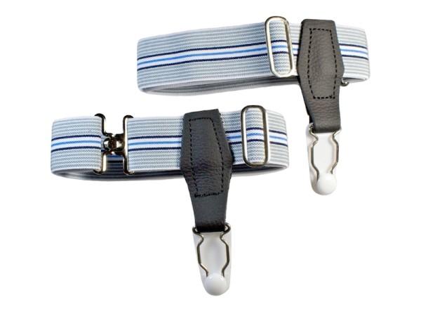 Sockenhalter für Herren grau-blau Streifen