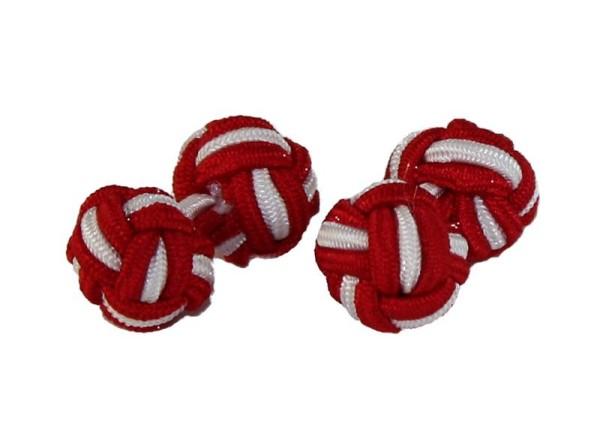 Seidenknoten Manschettenknöpfe rot-weiss