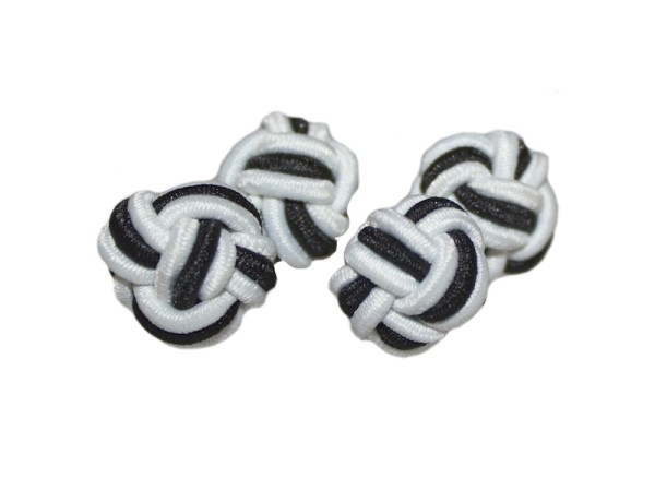 Seidenknoten Manschettenknöpfe weiß-schwarz