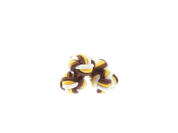 Seidenknoten Manschettenknöpfe braun-gelb-weiss