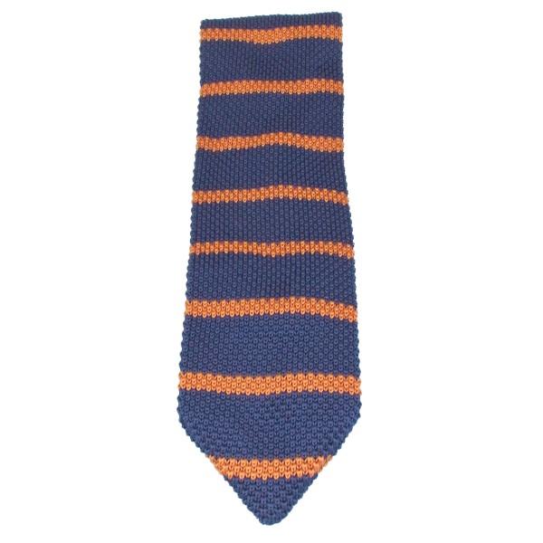 gestrickte Krawatte blau gestreift