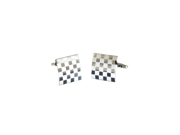 Manschettenknöpfe silber mit Schachbrettmuster