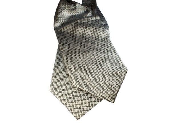 Krawattenschal Ascot grau mit schwarzen Balken