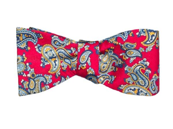 Fliege rot mit blauem Paisley für Herren
