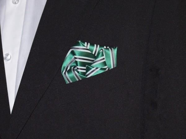 Einstecktuch grün schwarz gestreift
