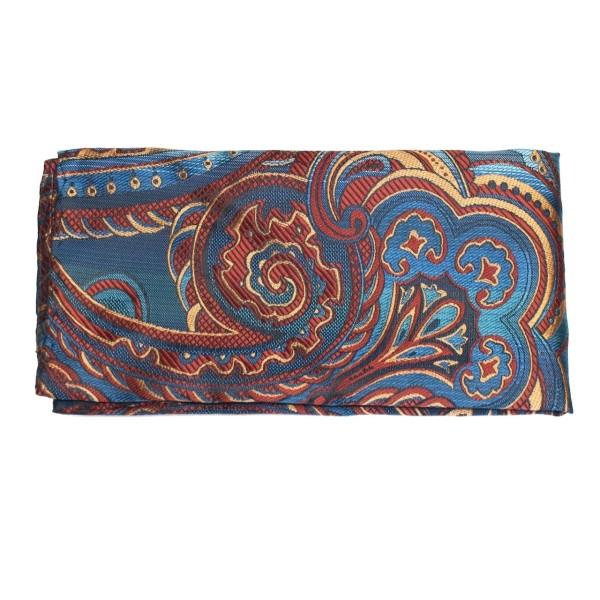 Einstecktuch in cyan mit Paisley-Muster