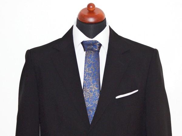 Krawatte blau mit goldenem Muster