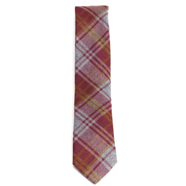 Krawatte für Männer rot kariert aus Baumwolle