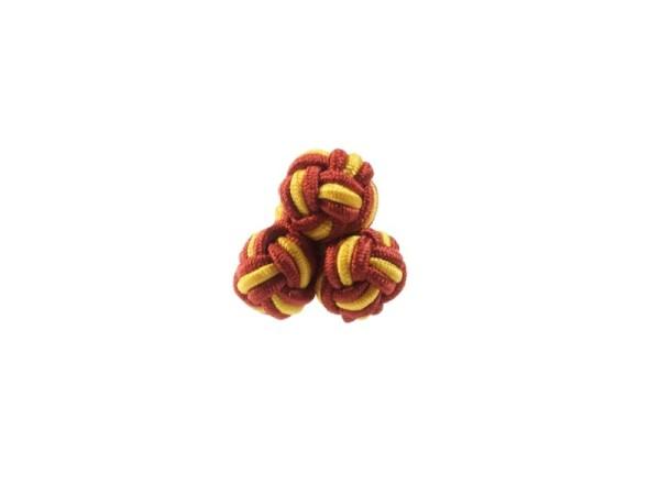 Seidenknoten Manschettenknöpfe weinrot-gelb
