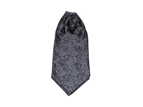 Krawattenschal Ascot schwarz mit grauem Paisley