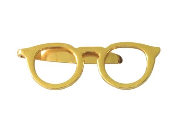 Krawattennadel gold Brille modern