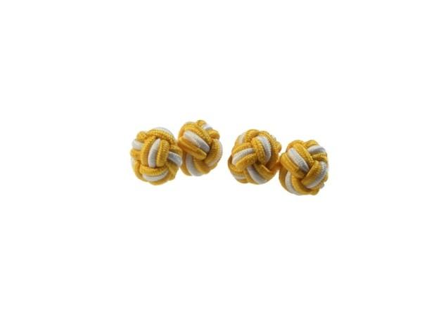 Seidenknoten Manschettenknöpfe gelb-weiß