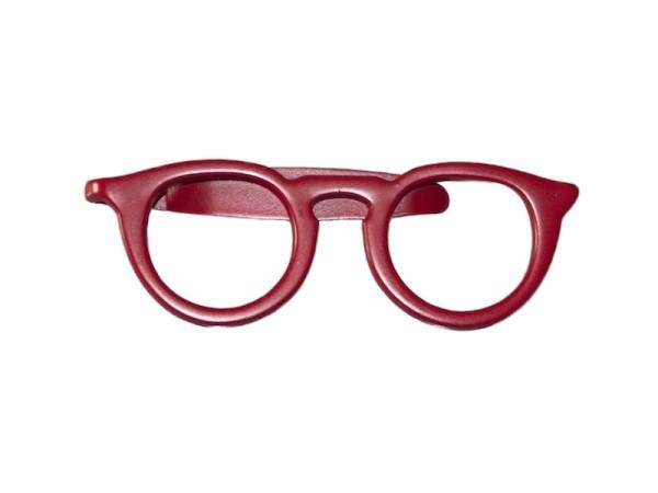 Krawattennadel rot Brille modern
