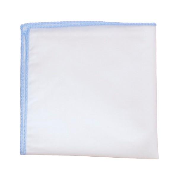 einstecktuch kaufen weiß mit hellblauer naht