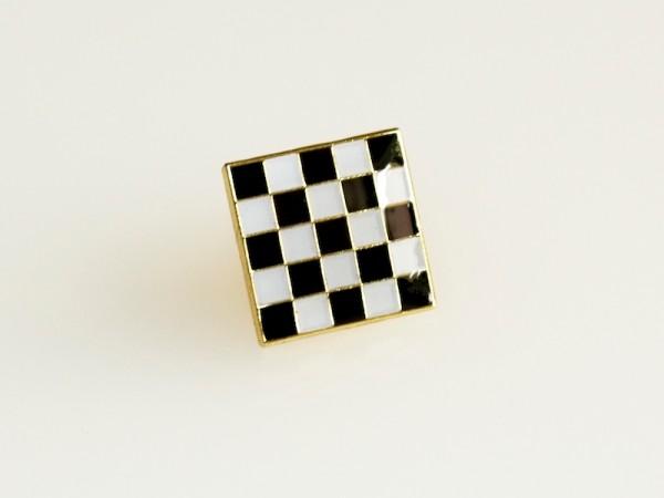 Ansteckpin Schachbrett schwarz-weiß musivisches Pflaster