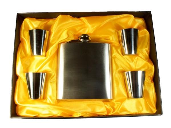 Geschenkset Flachmann silber mit 4 Trinkbechern