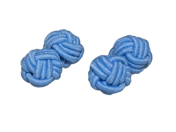 Seidenknoten Manschettenknöpfe hellblau