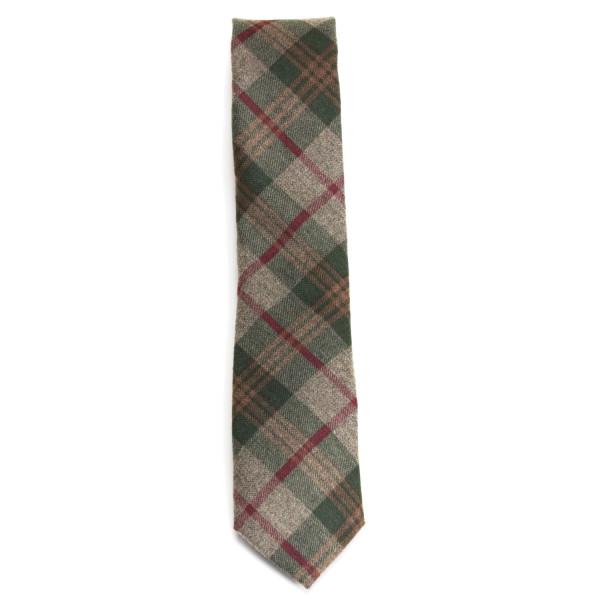 Krawatte für Herren grün kariert aus Baumwolle