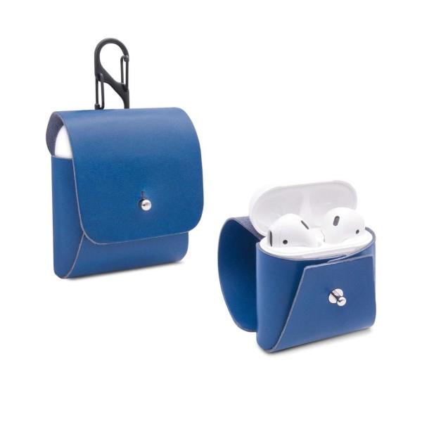 Leder Schutzhülle für AirPods in blau