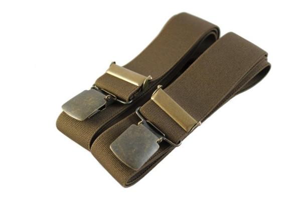 Hosenträger braun mit breiten Messing-Clips