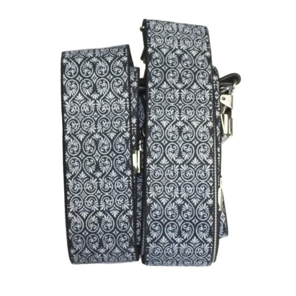 Hosenträger schwarz-weiß mit feinen Ornamenten