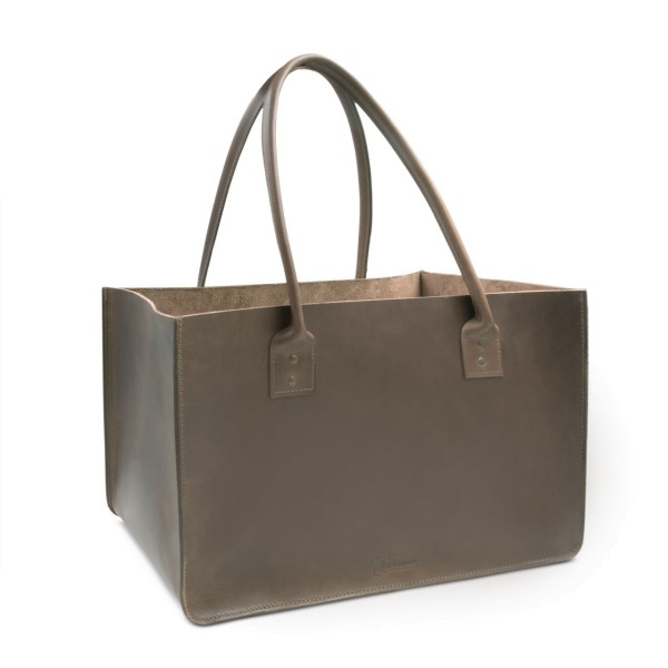 Leather firewood bag in brown Dallas