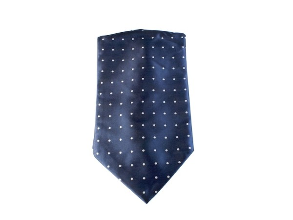 Ascot Krawattenschal blau mit weißen Punkten