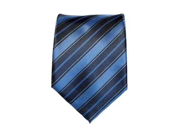 blaue Krawatte mit dunkelblauen Streifen