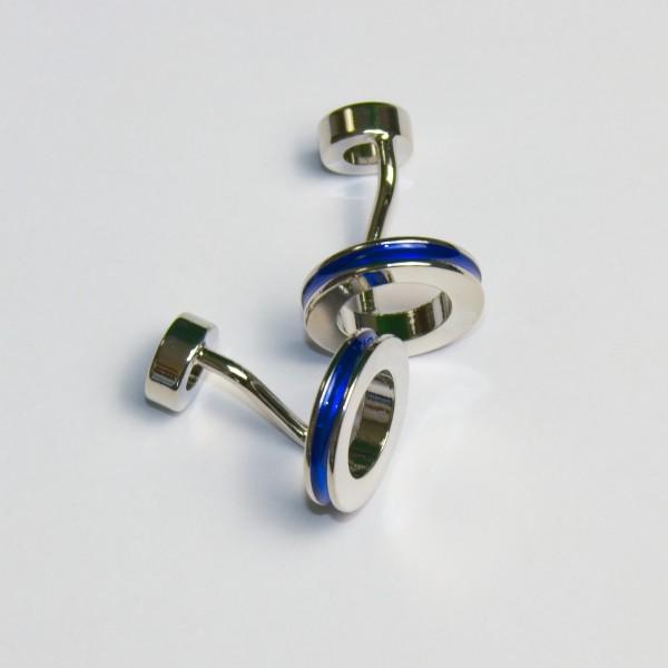 Manschettenknöpfe silber-blau