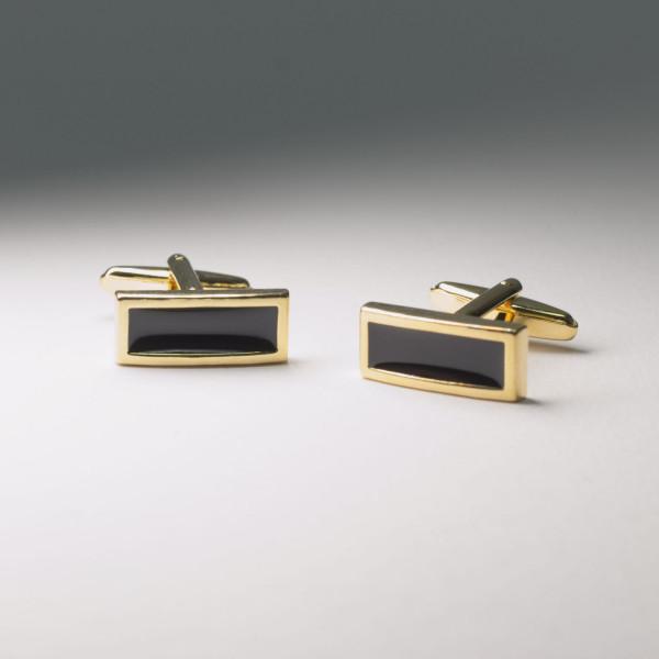 Viereckige gold-schwarze Manschettenknöpfe