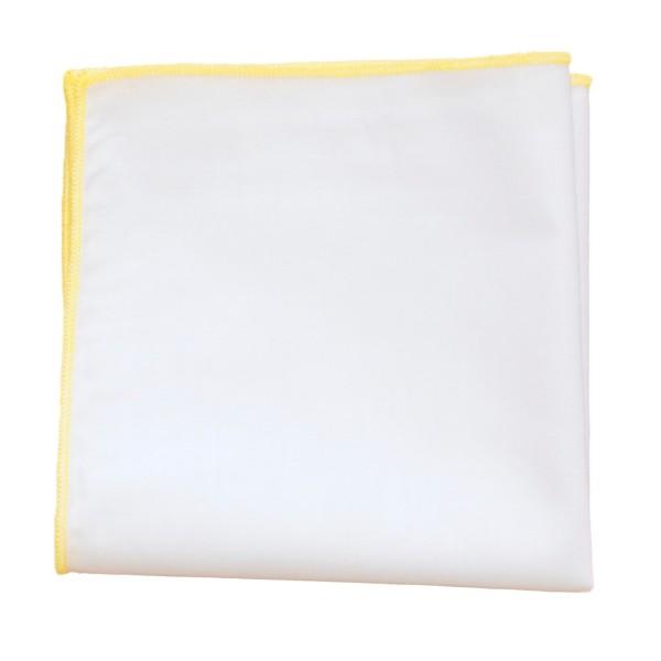 einstecktuch weiß mit gelber naht