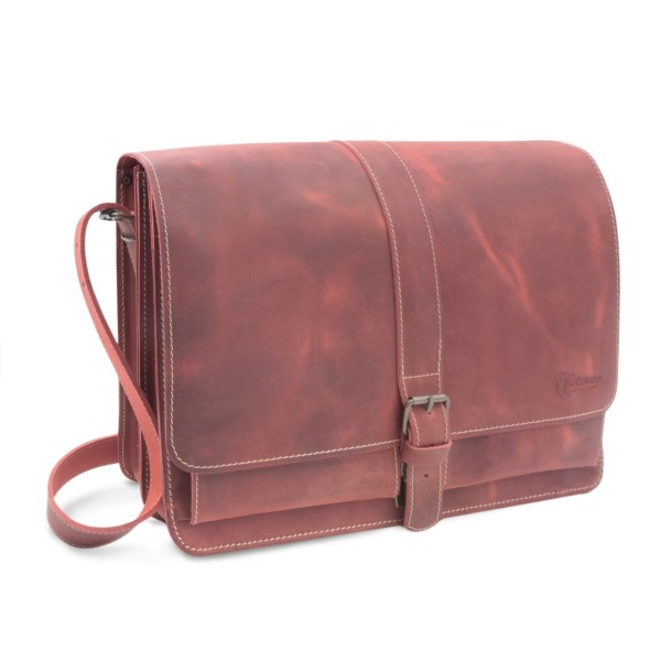 Laptoptasche aus Leder Chicago rot