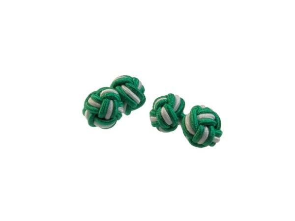 Seidenknoten Manschettenknöpfe grün-weiss