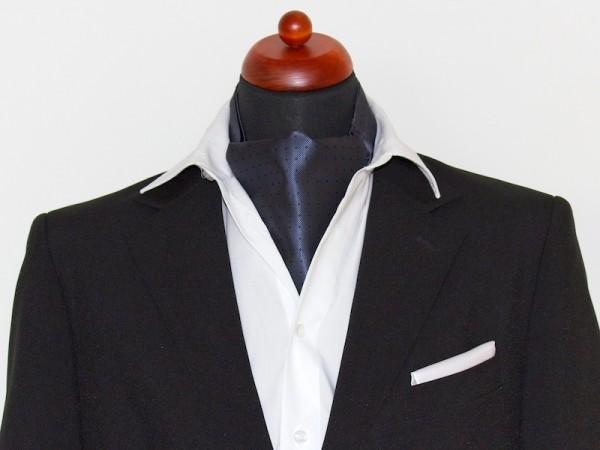 Krawattenschal Ascot grau mit Punkten
