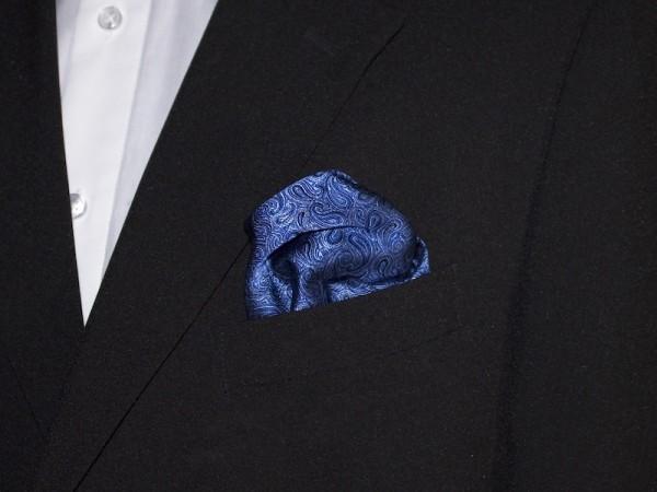 Einstecktuch Seide blau mit Paisley