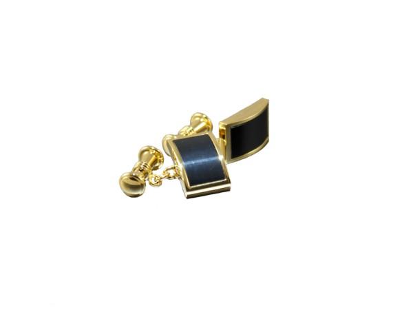 Goldene Manschettenknöpfe mit schwarzem Inlay