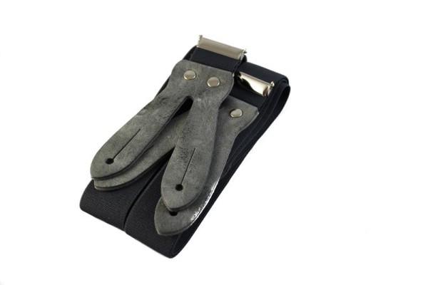 Hosenträger grau zum Knöpfen mit grauer Lederplatte