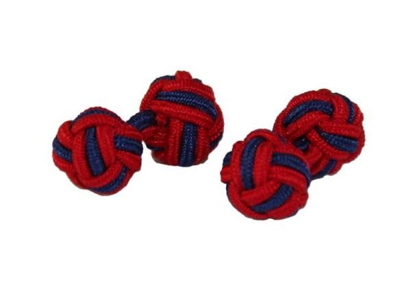 Seidenknoten Manschettenknöpfe rot-blau