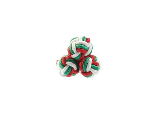 Seidenknoten Manschettenknöpfe rot-grün-weiss
