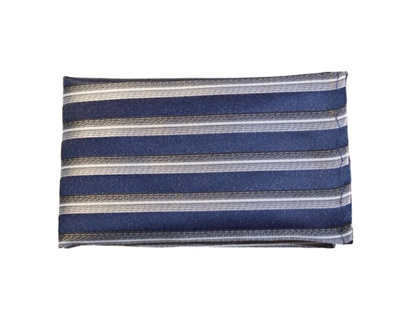 Einstecktuch Seide blau grau gestreift