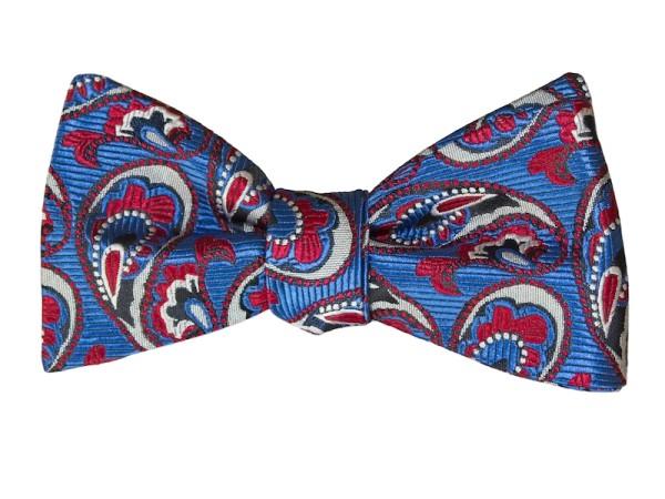 Fliege blau mit rotem Paisley für Herren