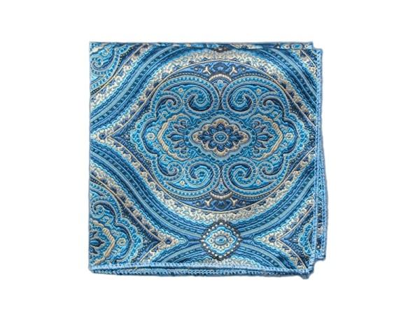 Einstecktuch blau mit goldenem Muster