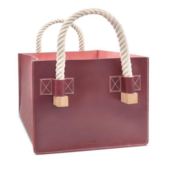 Designer Kaminholztasche aus Leder in rot