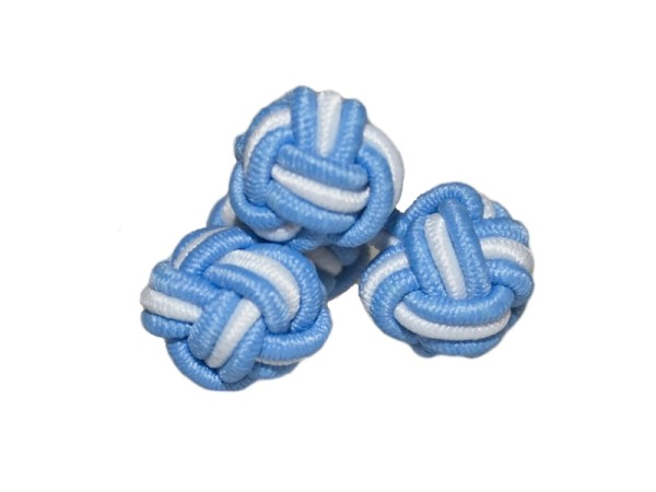 Seidenknoten Manschettenknöpfe hellblau-weiß