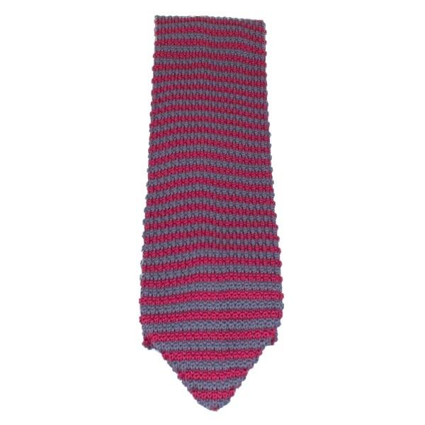 Gestrickte Baumwollkrawatte für Männer rot-grau gestreift Royal Baxton