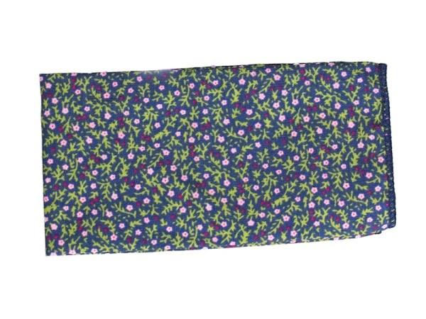 Einstecktuch blau mit Streublumen aus Baumwolle